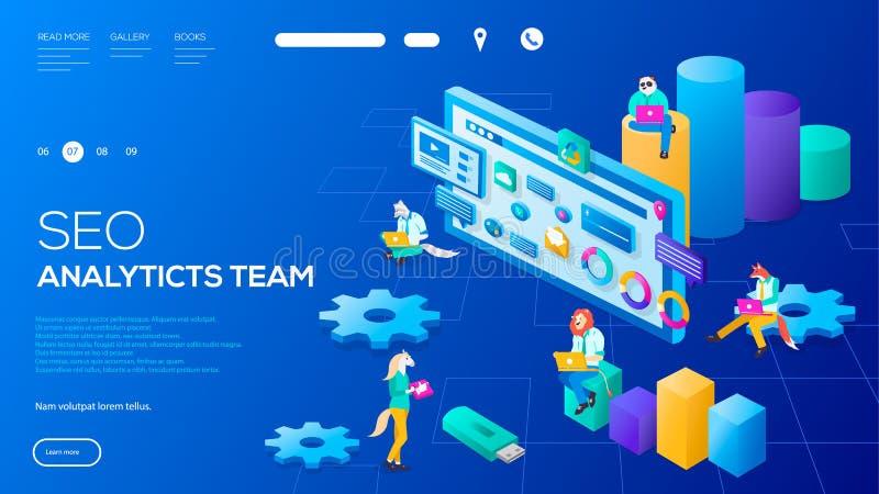 IT-Fachmänner 3d, die an SEO-Analyticsteam-Landungsseite arbeiten Charakter mit Laptops auf Webseiten mit Diagrammen vektor abbildung