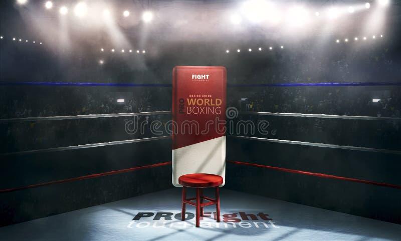 Fachowa bokserska arena w światłach z krzesła 3d renderingiem royalty ilustracja