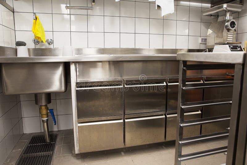 Fachowa kuchnia, widok odpierający w stali obraz stock