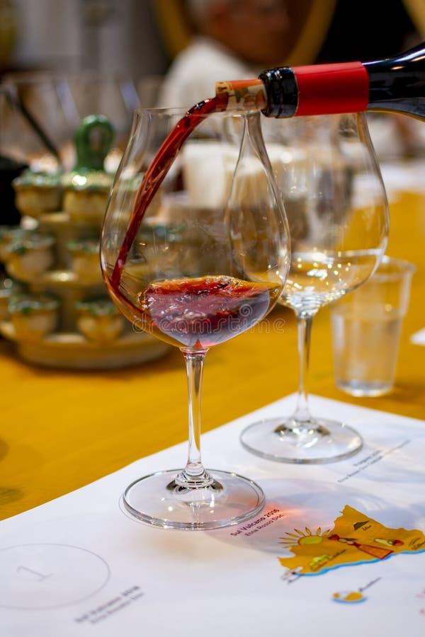 Fachowa wino degustacja, sommelier kurs, dolewanie czerwone wino w win szkłach zdjęcia stock