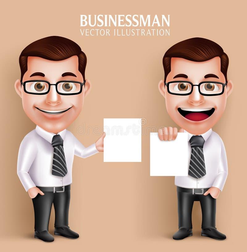 Fachowego Biznesowego mężczyzna charakteru Wektorowego mienia Pusty Biały papier royalty ilustracja