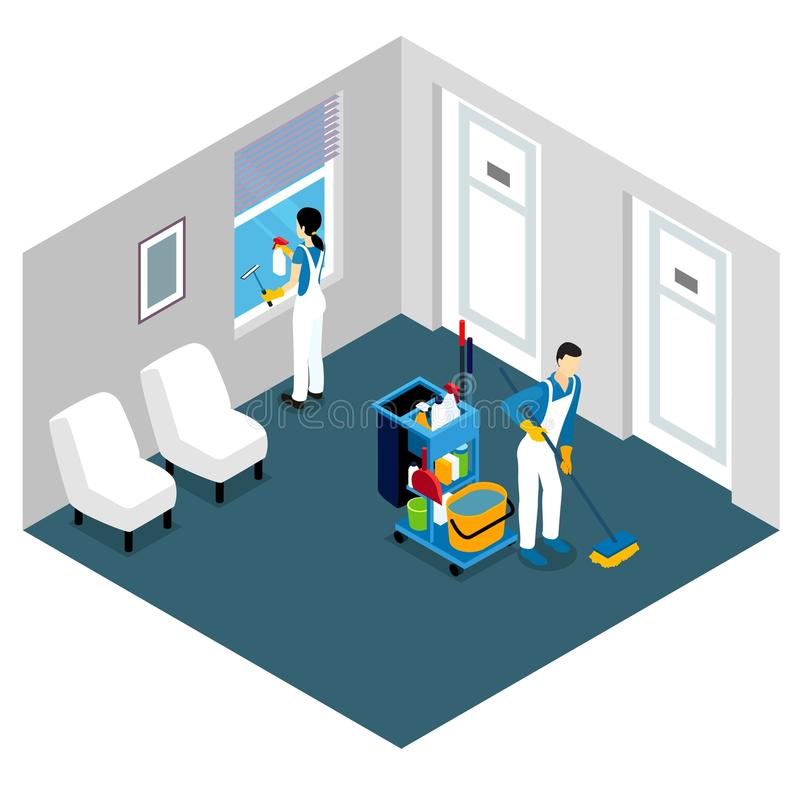 Fachowego Cleaning Isometric projekt ilustracja wektor