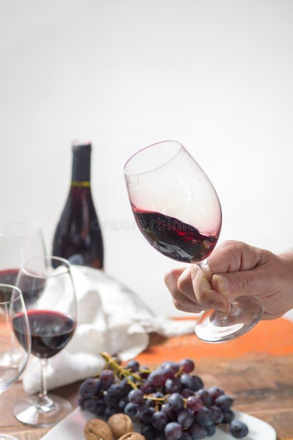Fachowego czerwonego wina smaczny wydarzenie z wysokiej jakości wina szkłem obraz royalty free