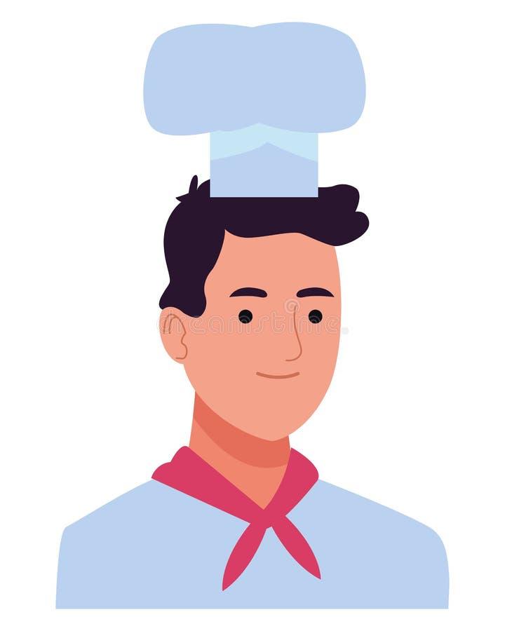 Fachowego szefa kuchni mężczyzny uśmiechnięta profilowa kreskówka ilustracja wektor