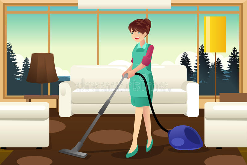 Fachowej gosposi vacuuming dywan ilustracja wektor