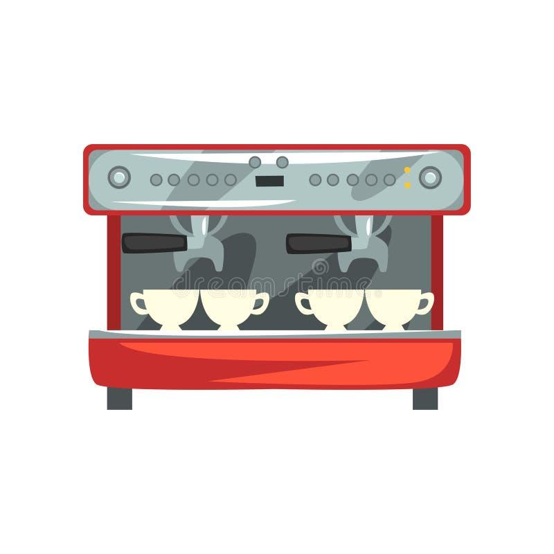 Fachowej kawowej maszynowej kreskówki wektorowa ilustracja na białym tle ilustracja wektor