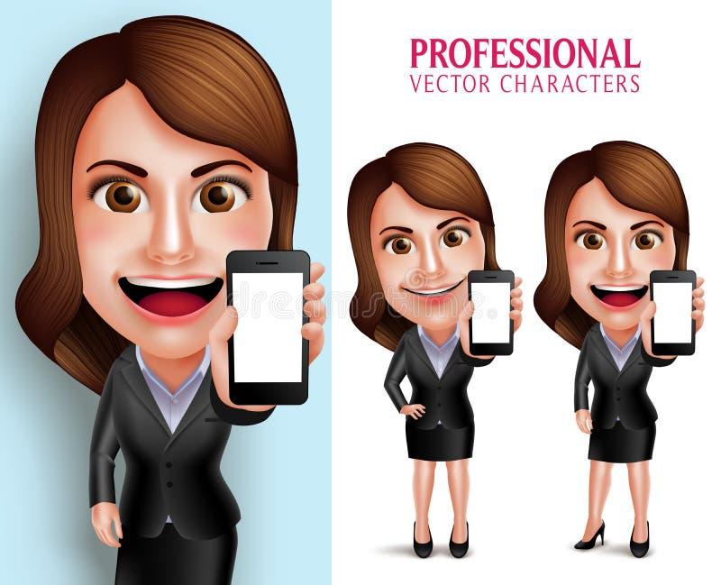 Fachowej kobiety charakter z Biznesowego stroju Pustego ekranu Szczęśliwym ono Uśmiecha się Pokazuje telefonem komórkowym ilustracja wektor