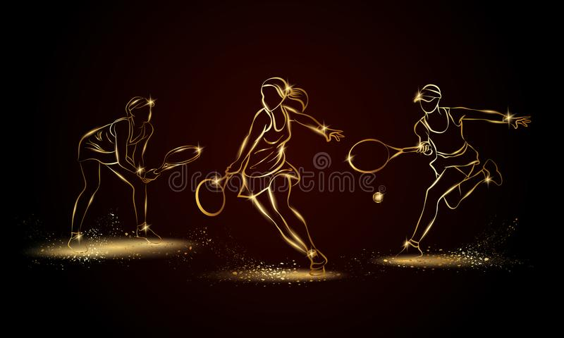 Fachowej kobiety gracz w tenisa ustawiający Złota liniowa gracz w tenisa ilustracja dla sporta sztandaru ilustracja wektor