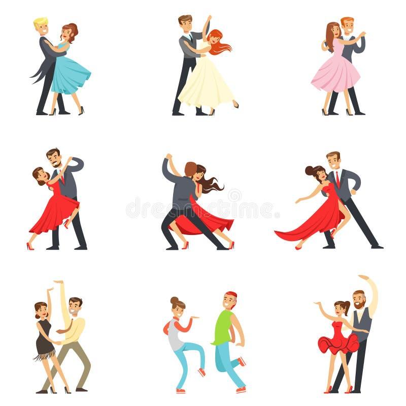 Fachowej tancerz pary Dancingowy tango, walc I Inni tanowie Na tana konkursu Dancefloor secie, ilustracja wektor