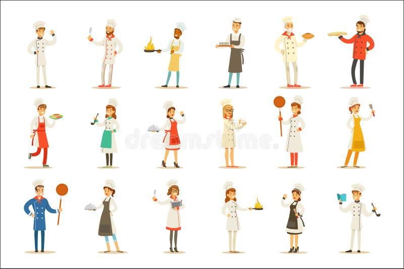 Fachowi Kulinarni szefowie kuchni Pracuje W restauracyjnym Jest ubranym Klasycznym Tradycyjnym bielu munduru secie postać z kresk ilustracja wektor