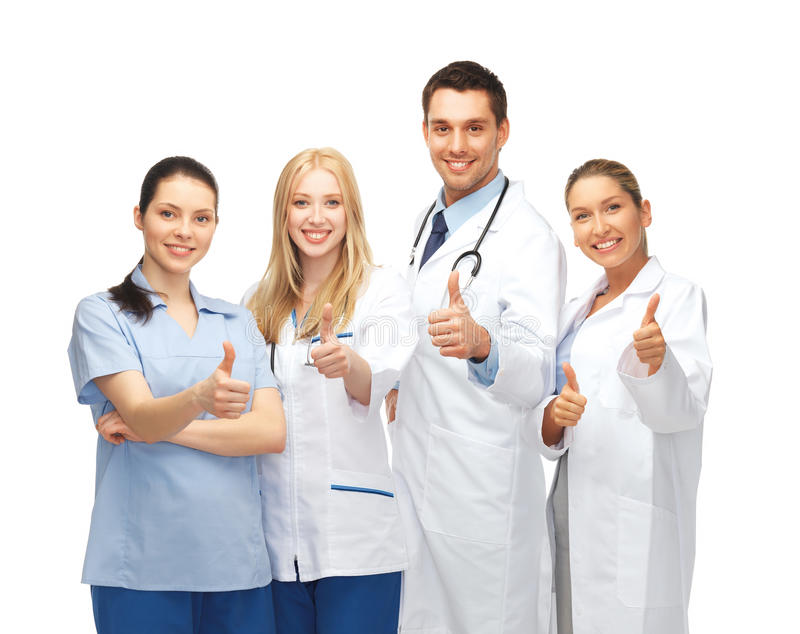 Fachowi potomstwa drużyna lub grupa lekarki obraz royalty free