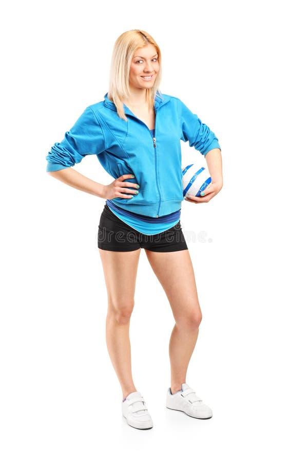 Fachowy żeński handball gracz zdjęcia royalty free