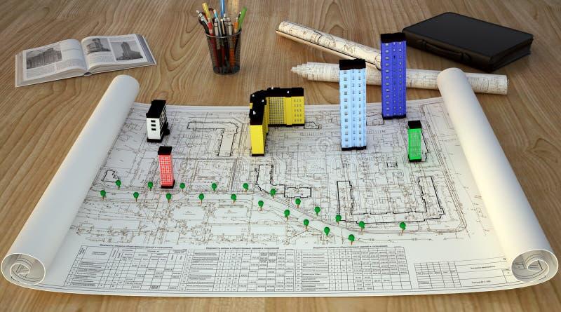 Fachowy biurko inżynier obraz stock
