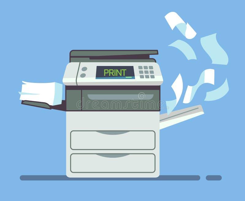 Fachowy biurowy copier, multifunction drukarki papierowych dokumentów wektoru drukowa ilustracja ilustracja wektor