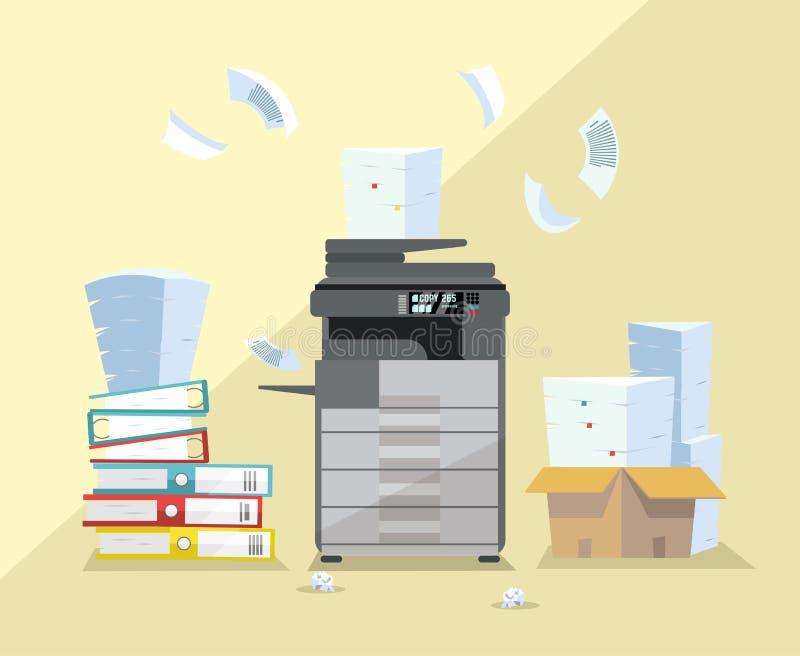 Fachowy biurowy zmrok - szary copier, multifunction przeszukiwacz drukarki drukowi papierowi dokumenty z stosem dokumenty, sterta royalty ilustracja