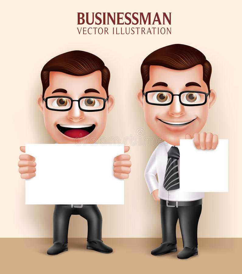 Fachowy Biznesowego mężczyzna charakter Trzyma Białego Pustego papier dla wiadomości ilustracji