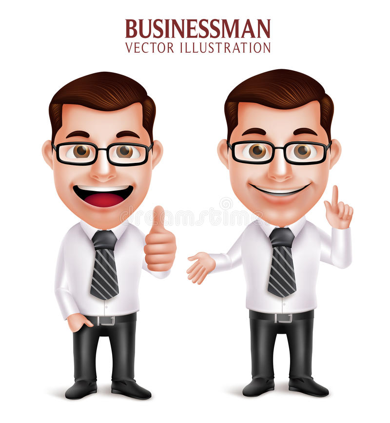 Fachowy Biznesowego mężczyzna charakter z Wskazywać i OK ręka gestem royalty ilustracja
