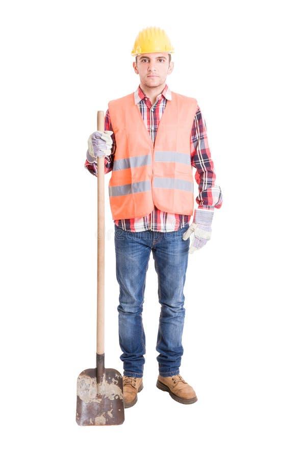 Download Fachowy Budowniczy I Jego Przeszuflowywamy Obraz Stock - Obraz złożonej z wyposażenie, facet: 53782623