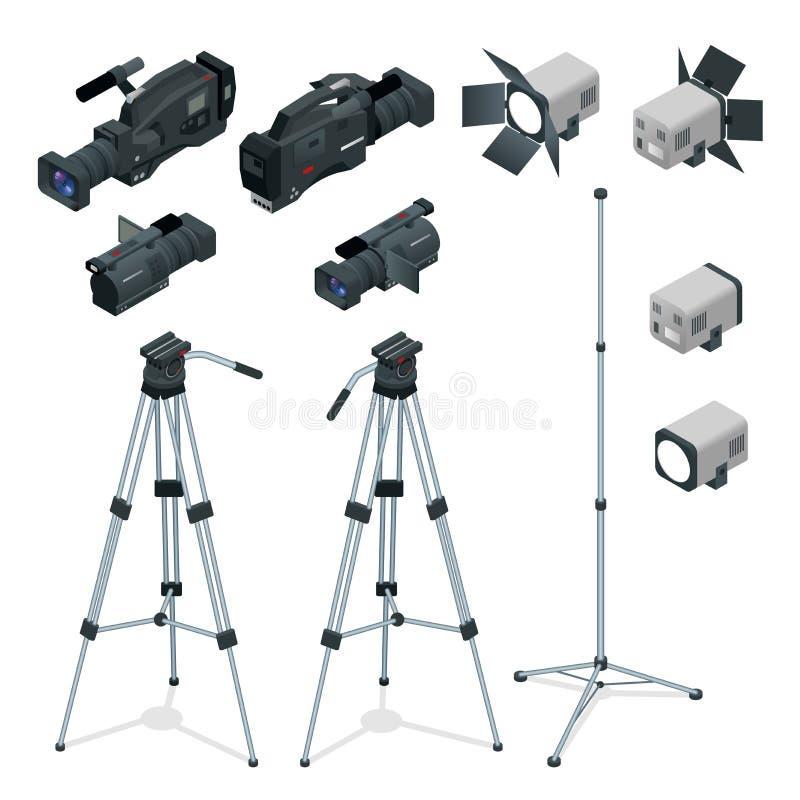 Fachowy cyfrowy kamera wideo ustawiający na tripod Ekranowy obiektyw, kamera telewizyjna Światła reflektorów realistyczny przejrz ilustracja wektor