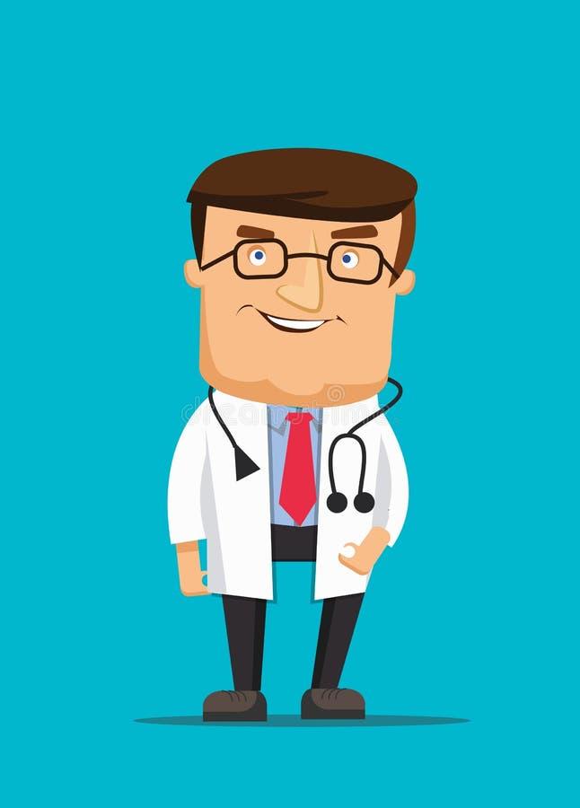 Fachowy czyści doktorskiego ilustracyjnego jest ubranym stetoskop i pomagać w klinice ilustracji