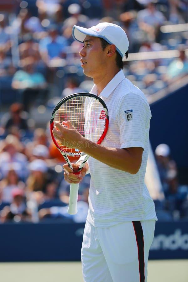 Fachowy gracz w tenisa Kei Nishikori podczas us open mężczyzna półfinału dopasowania z Novak Djokovic fotografia stock