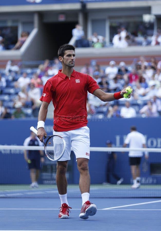 Fachowy gracz w tenisa Novak Djokovic podczas round dopasowania przy us open 2013 fourth zdjęcia stock