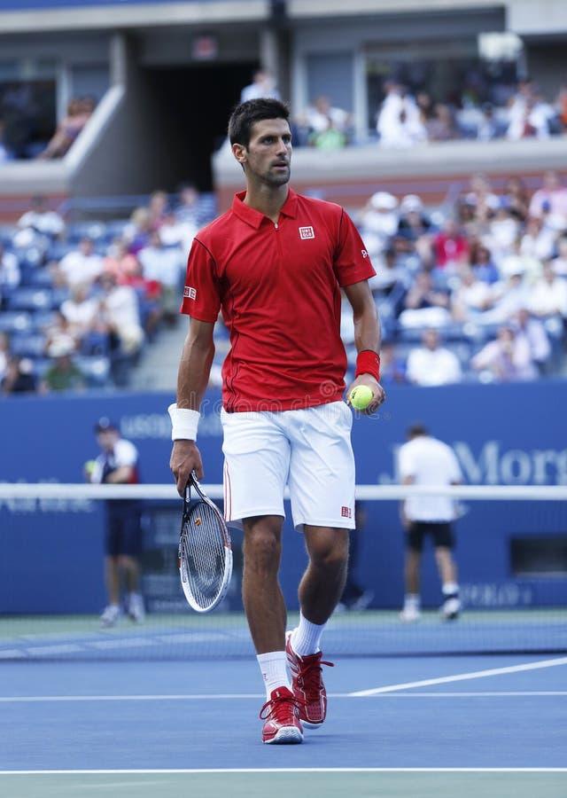 Fachowy gracz w tenisa Novak Djokovic podczas round dopasowania przy us open 2013 fourth obraz stock