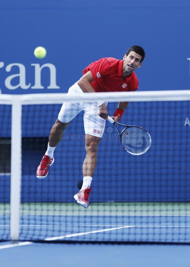 Fachowy gracz w tenisa Novak Djokovic podczas round dopasowania przy us open 2013 fourth zdjęcia royalty free