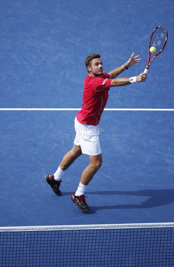 Fachowy gracz w tenisa Stanislas Wawrinka podczas półfinału dopasowania przy us open 2013 przeciw Novak Djokovic obrazy royalty free