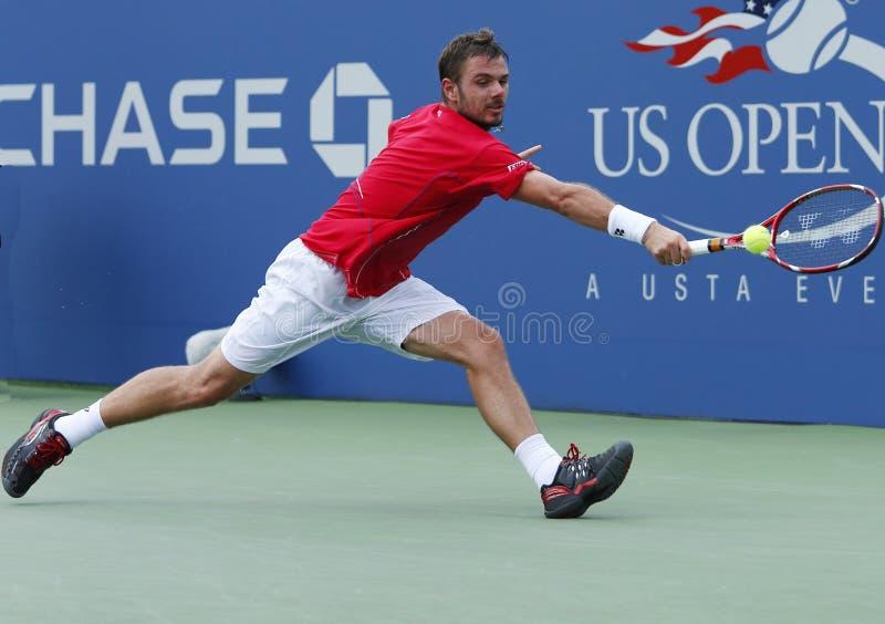 Fachowy gracz w tenisa Stanislas Wawrinka podczas round dopasowania przy us open 2013 jako trzeci zdjęcia royalty free