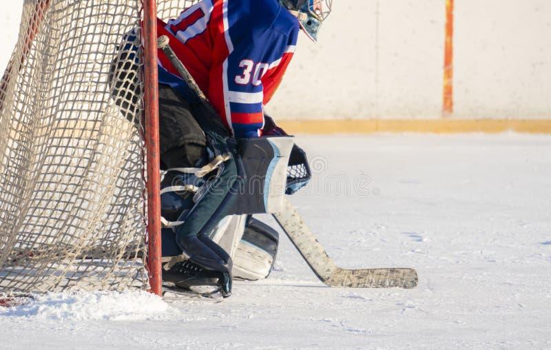 Fachowy hokejowy wyposażenie mężczyzna bawić się hokeja na lodzie, zdrowy styl życia f obrazy royalty free
