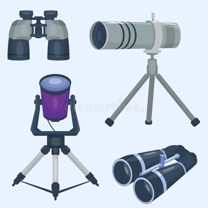 Fachowy kamera obiektywu lornetek szkło widzii spyglass optyka przyrządu kamery ostrości okulistycznego wyposażenia cyfrowego wek royalty ilustracja