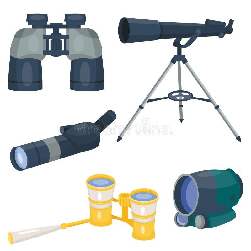Fachowy kamera obiektywu lornetek szkło widzii spyglass optyka przyrządu kamery ostrości okulistycznego wyposażenia cyfrowego wek ilustracja wektor