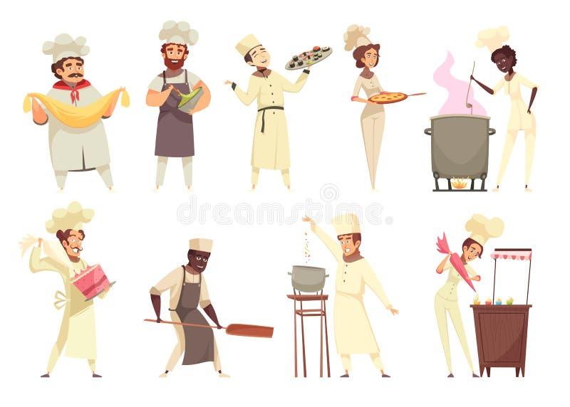 Fachowy kucharstwo set ilustracji