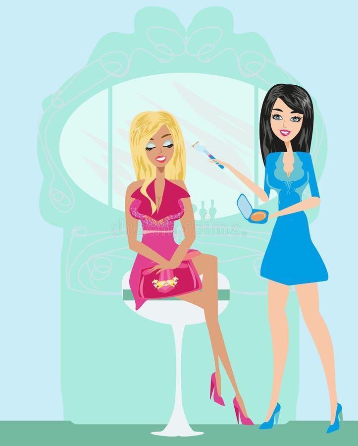 Fachowy makijażu artysta stosuje rumiena ilustracja wektor