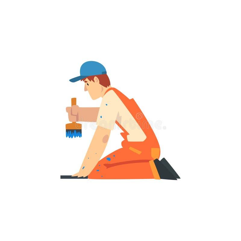 Fachowy malarz z muśnięciem, Męskim pracownika budowlanego charakterem w Pomarańczowych kombinezonach i Błękitną nakrętką z wypos royalty ilustracja