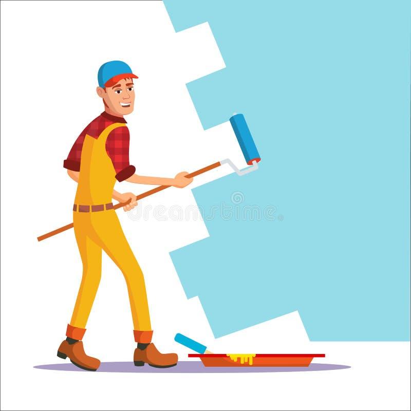 Fachowy malarza wektor Malować muśnięcie, rolownik Rzemieślnika obrazu ściana ilustracja wektor