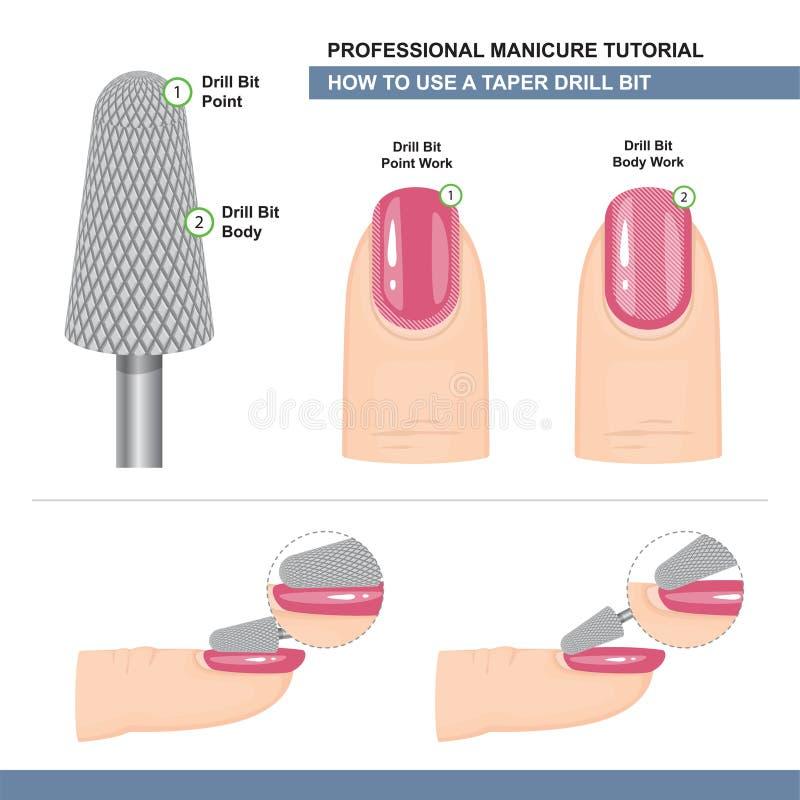 Fachowy manicure'u Tutorial E r r wektor ilustracja wektor