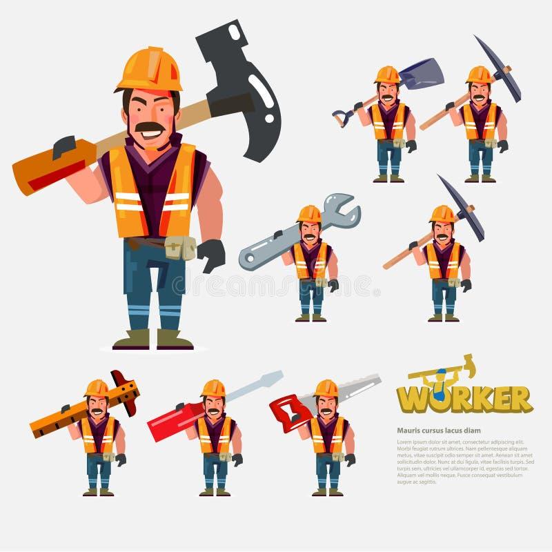 Fachowy pracownik niesie prac narzędzia na plecy charakteru desi royalty ilustracja