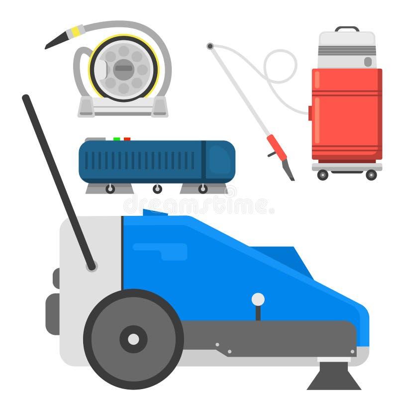 Fachowy wyposażenie odizolowywająca cleaning wektoru domu cleanup próżnia ilustracja wektor