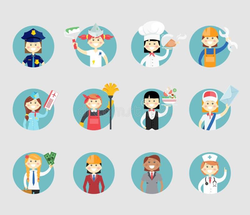 Fachowych kobiet avatar set ilustracja wektor