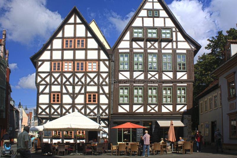 Fachwerk房子在埃福特,德国 库存照片