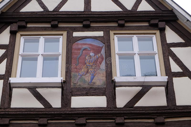 Fachwerk- altes Haus in Aalen, Deutschland lizenzfreie stockfotos