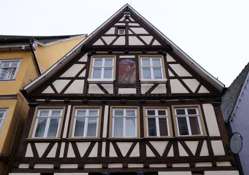 Fachwerk- altes Haus in Aalen, Deutschland stockfotografie