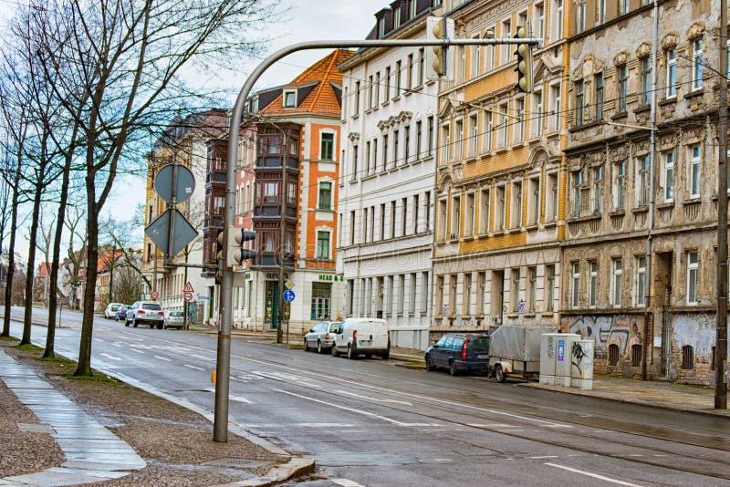 Fachwerkhäuser in einem Bezirk von Leipzig lizenzfreie stockfotos