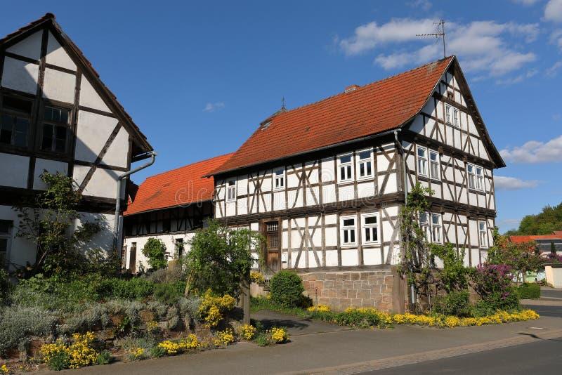 Fachwerkhaus in Nord-Hessen Deutschland lizenzfreies stockbild