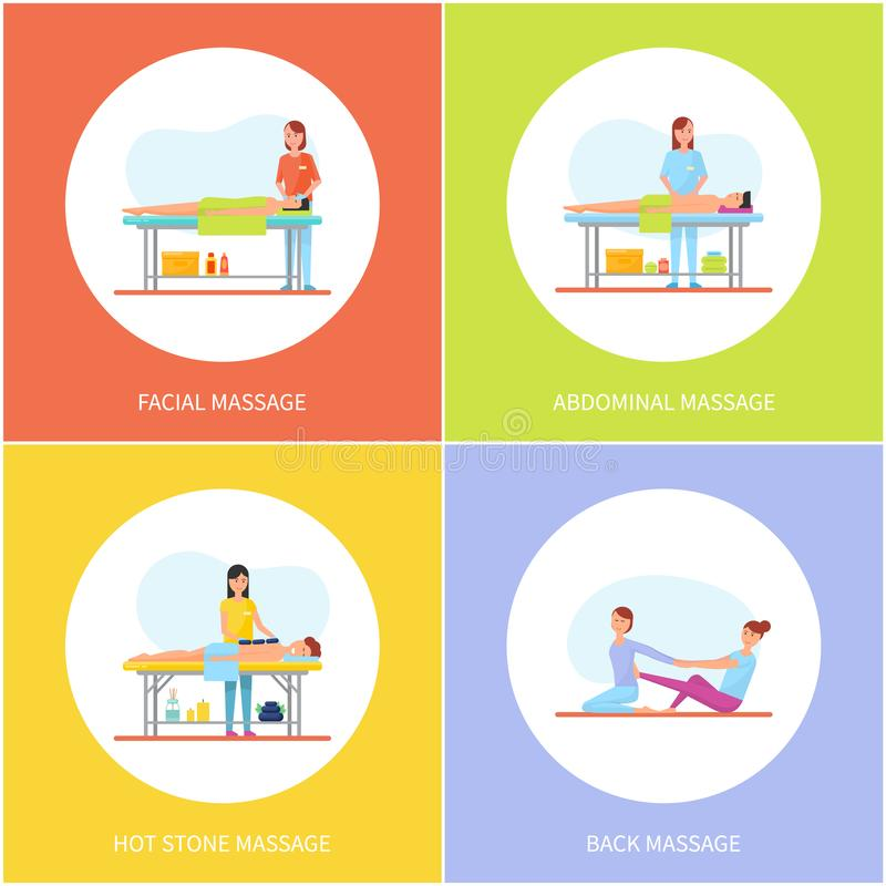 Facial and Abdominal Massage Care Icons Set Vector. Massaging woman and relaxing man with towel on table. Clients and patients body parts treatment vector illustration