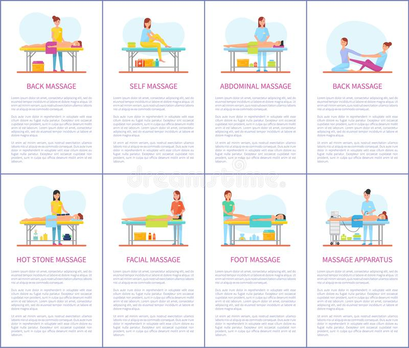 Facial and Abdominal Massage Care Posters Vector. Facial and abdominal massage techniques. Self care, foot and belly treatment, apparatus machine skincare vector illustration