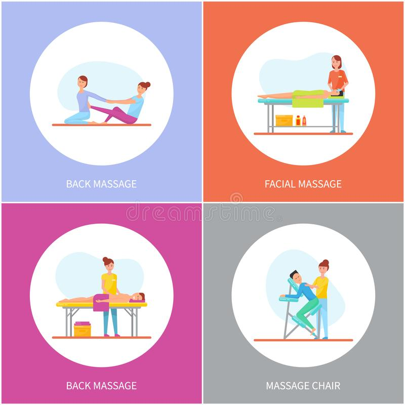 Facial and Back Massage and Special Chair Cartoon. Vector set. Masseuse in uniform massaging clients lying on table and sitting on armchair and on rug stock illustration