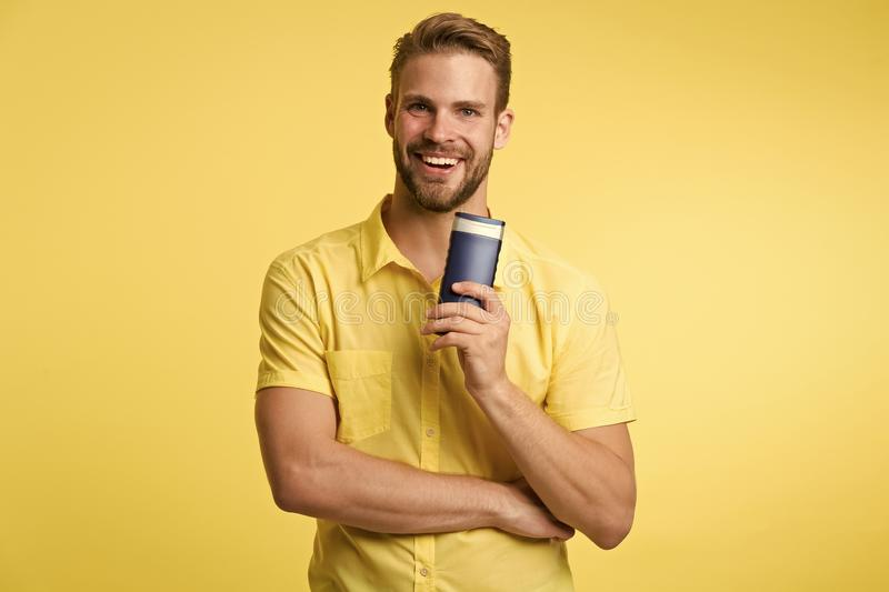 Facial care. caucasian guy with moustache. Mature hipster with beard. Male fashion. Bearded man. man on yellow. Background. after bath and shower. self hygiene royalty free stock photos